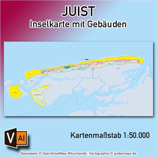 Juist Inselkarte Mit Gebäuden Vektorkarte