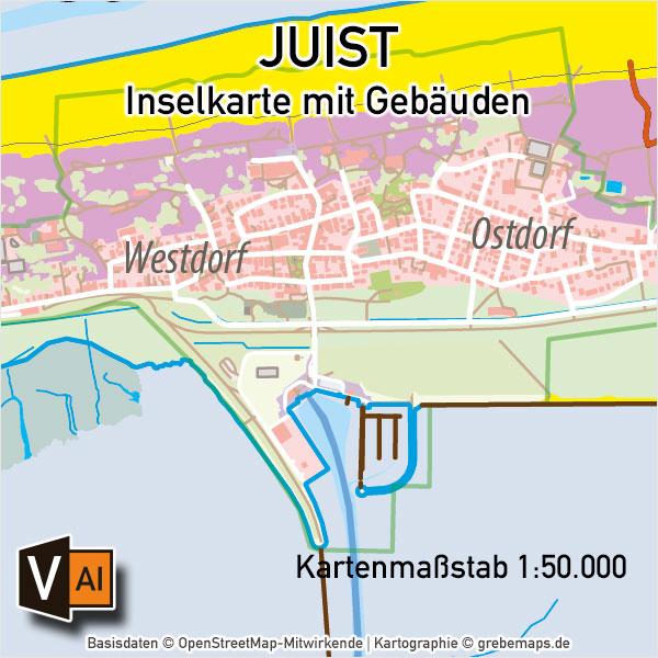 Juist Inselkarte Mit Gebäuden Vektorkarte, Karte Juist, Inselkarte Juist Mit Gebäuden, Vektorkarte Juist, Übersichtskarte Juist, AI, Download, Editierbar, Bearbeitbar, Vektoren, Vector Map