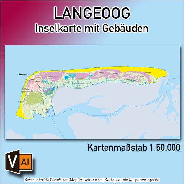 Langeoog Inselkarte Mit Gebäuden Vektorkarte