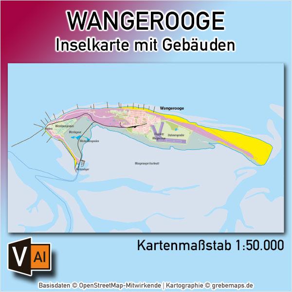 Wangerooge Inselkarte Mit Gebäuden Vektorkarte