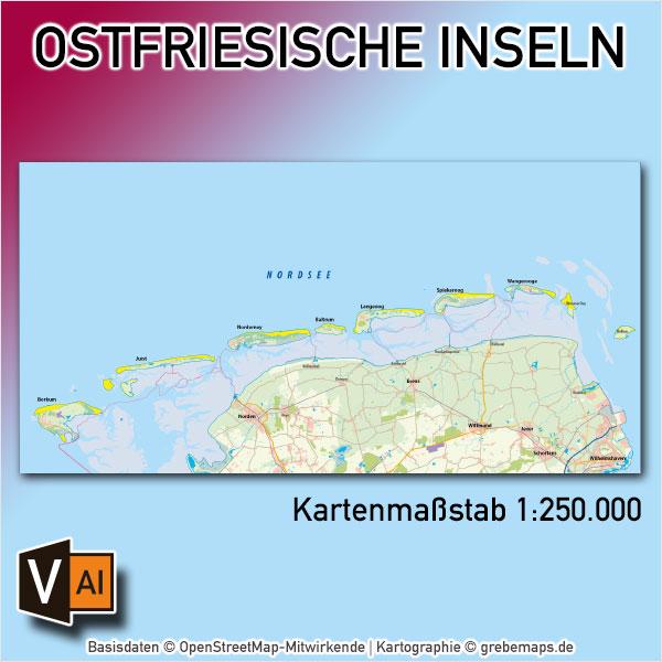 Ostfriesische Inseln Übersichtskarte Vektorkarte