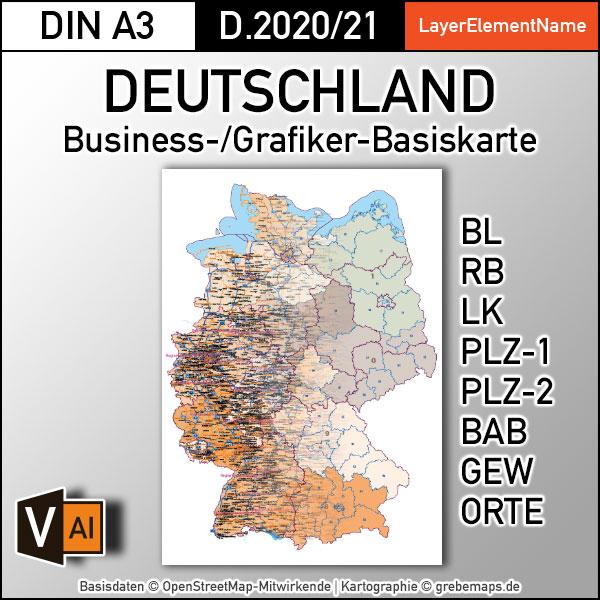 Business-/Grafiker-Basiskarte Deutschland Landkreise Autobahnen Orte Postleitzahlen PLZ-1-2 Vektorkarte DIN A3 (2020/21)