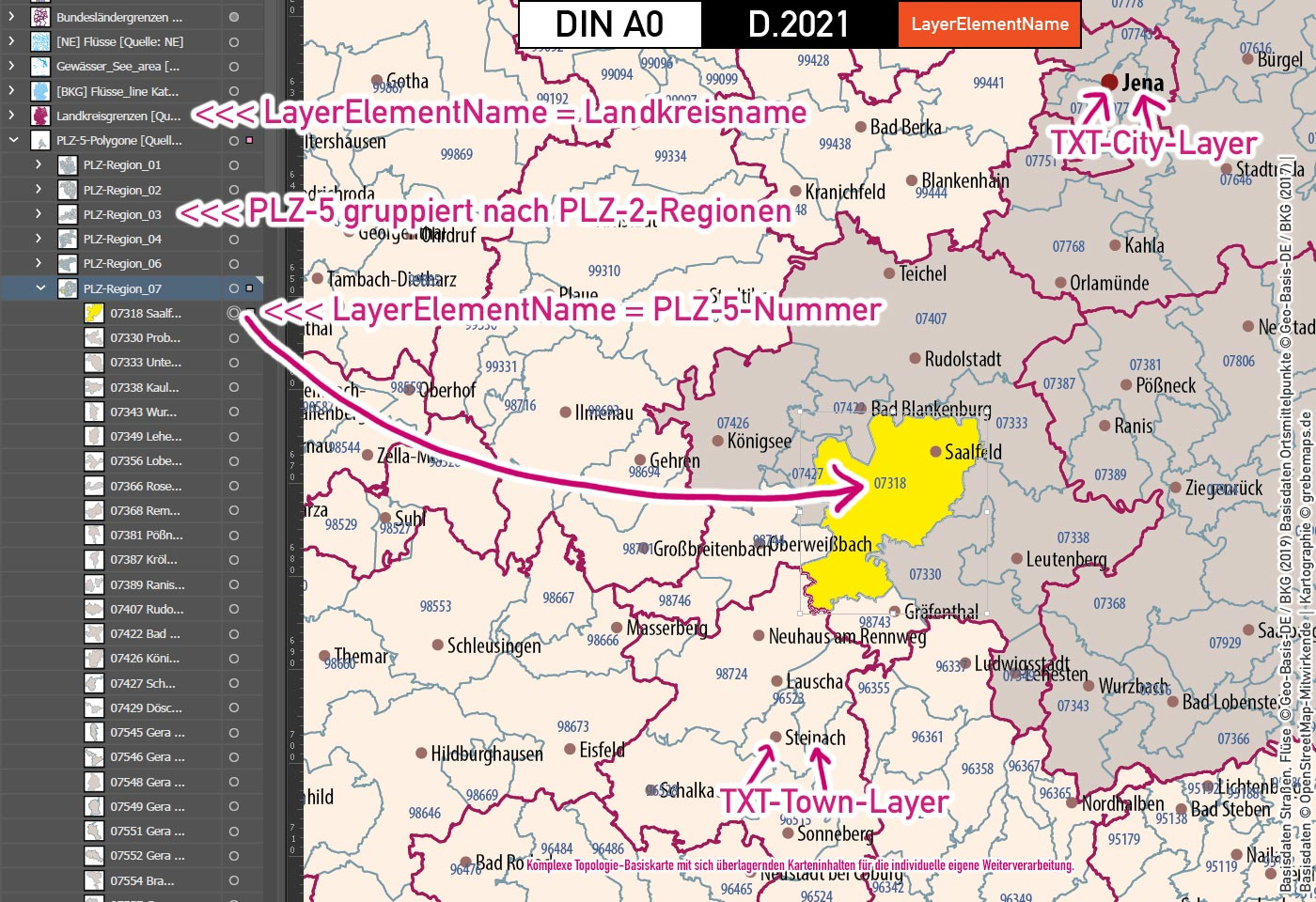 Deutschland Postleitzahlen Karte PLZ-1-2-5 mit Landkreisen Bundesländern Autobahnen Gewässer Ortsnamen Vektorkarte (2021), Karte Postleitzahlen Deutschland, PLZ-Karte Deutschland, Karte PLZ-5, Karte PLZ 5-stellig Deutschland, AI, editierbar, download