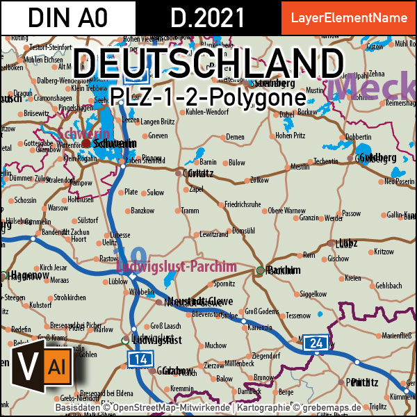 Deutschland Postleitzahlenkarte PLZ-1-2 mit Landkreisen Bundesländern Autobahnen Ortsnamen Vektorkarte, Karte PLZ Deutschland, Vektorkarte PLZ Deutschland, PLZ-Karte Deutschland, PLZ-2-Karte Deutschland, AI, download, editierbar
