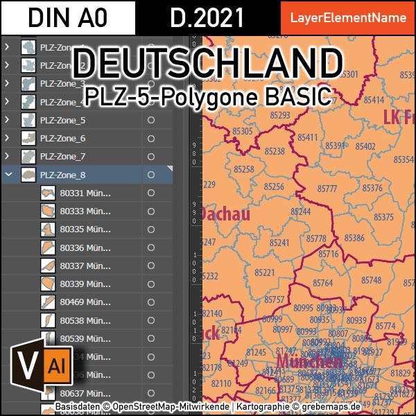 Deutschland Postleitzahlen Karte PLZ-5 BASIC mit Landkreisen Bundesländern Ortsnamen Vektorkarte (2021), Karte PLZ Deutschland, Vektorkarte PLZ Deutschland, Karte Vektor AI PLZ Deutschland, Ai, download, editierbar, PLZ-5 Karte, PLZ 5-stellig Karte Deutschland