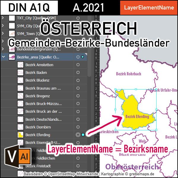 Österreich Austria Vektorkarte Bundesländer Bezirke Gemeinden Autobahnen (2021), Karte Österreich Gemeinden, Karte Austria Gemeinden, Karte Österreich administrativ, Vektorkarte Österreich Bezirke, Landkarte Österreich, AI, editierbar, ebenen-separiert, download