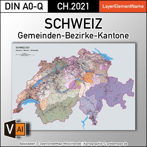 Schweiz Vektorkarte Kantone Bezirke Gemeinden Flüsse Seen Autobahnen (2021)