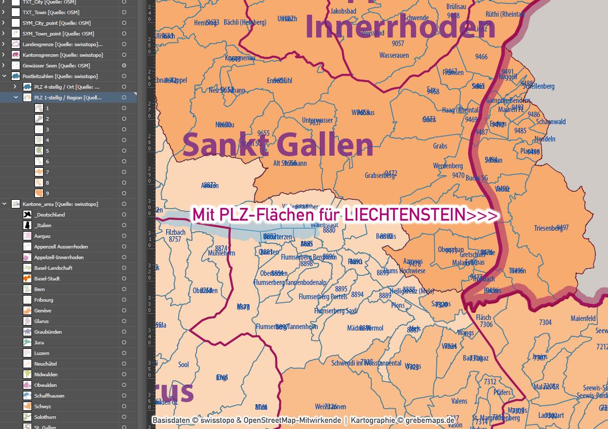 Schweiz Vektorkarte Postleitzahlen PLZ-1-4 Kantone, Karte Postleitzahlen Schweiz, Karte PLZ Schweiz, Vektorkarte PLZ Schweiz, PLZ-Karte Schweiz, AI, download, editierbar, Illustrator, Kartengrafik, Landkarte PLZ Schweiz