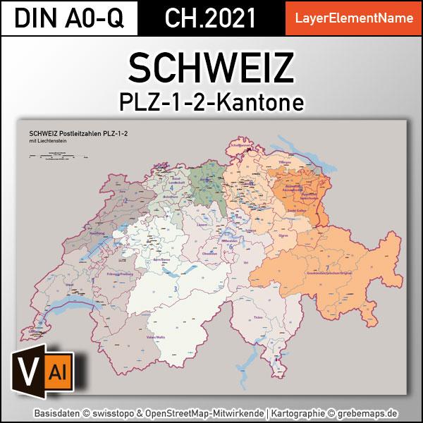 Schweiz Postleitzahlen PLZ-1-2 Kantone, Karte PLZ Schweiz, Schweiz Vektorkarte PLZ, Karte Postleitzahlen Schweiz PLZ-2, AI, download, editierbar, Karte für Illustrator, vector map schweiz, vector map switzerland plz