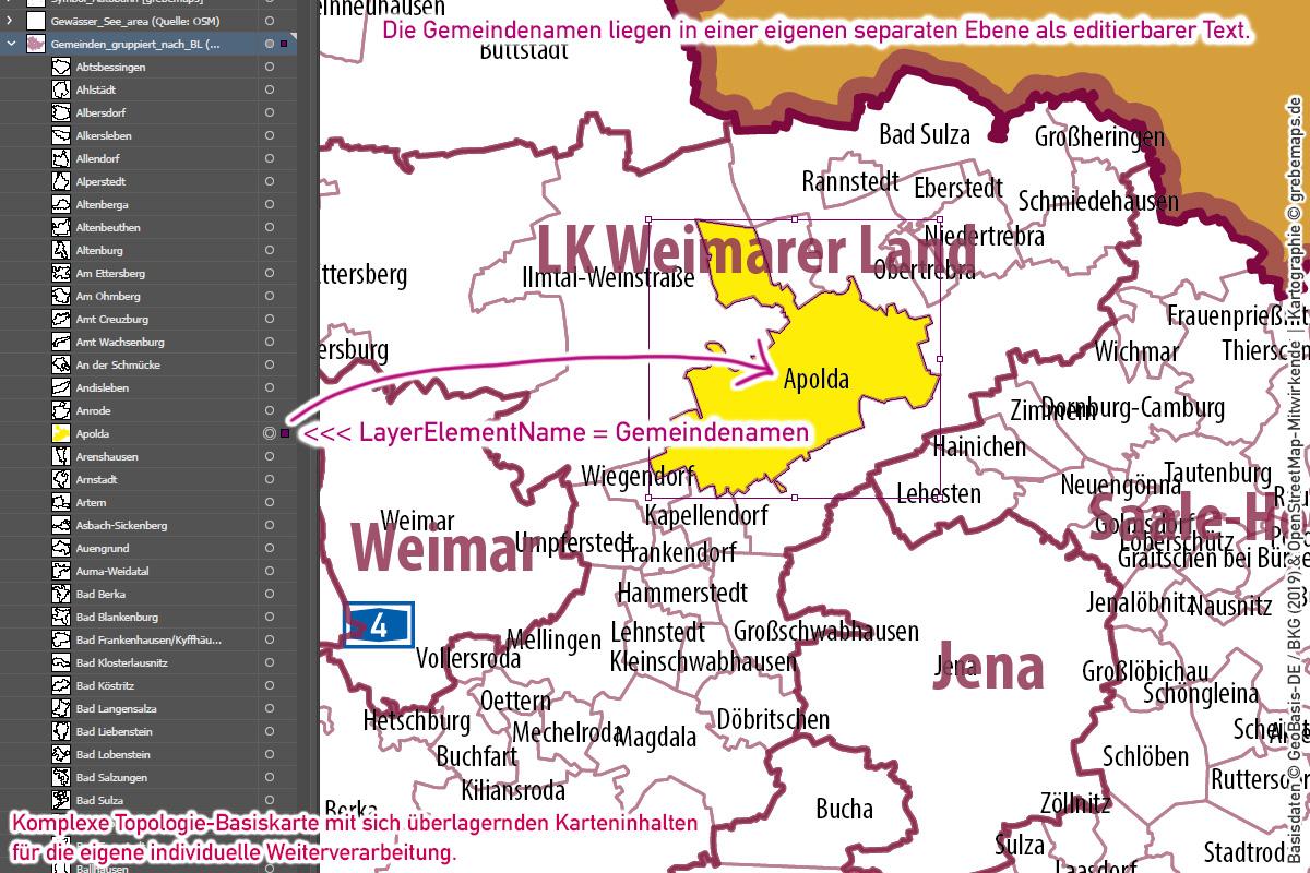 Thüringen Vektorkarte Landkreise Gemeinden Postleitzahlen PLZ-5, PLZ-Karte Thüringen, Karte Gemeinden Thüringen, Karte Landkreise Thüringen, Landkarte Thüringen, vector map thüringen, Vektorgrafik Thüringen, Karte Thüringen für Illustrator, AI, download, editierbar, Basiskarte