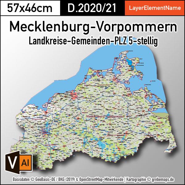 Mecklenburg-Vorpommern Vektorkarte Landkreise Gemeinden Postleitzahlen PLZ-5 (2020/21)