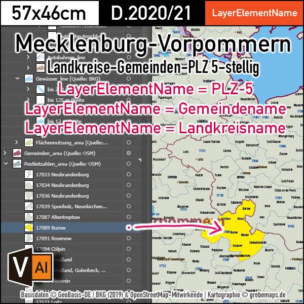 Mecklenburg-Vorpommern Vektorkarte Landkreise Gemeinden Postleitzahlen PLZ-5, vector map Mecklenburg-Vorpommern, Vektorkarte Mecklenburg-Vorpommern, Landkarte Mecklenburg-Vorpommern, Karte Postleitzahlen Mecklenburg-Vorpommern, PLZ-Karte Mecklenburg-Vorpommern, Meck-Pom, MeckPom, MV, AI, editierbar, download, Basiskarte