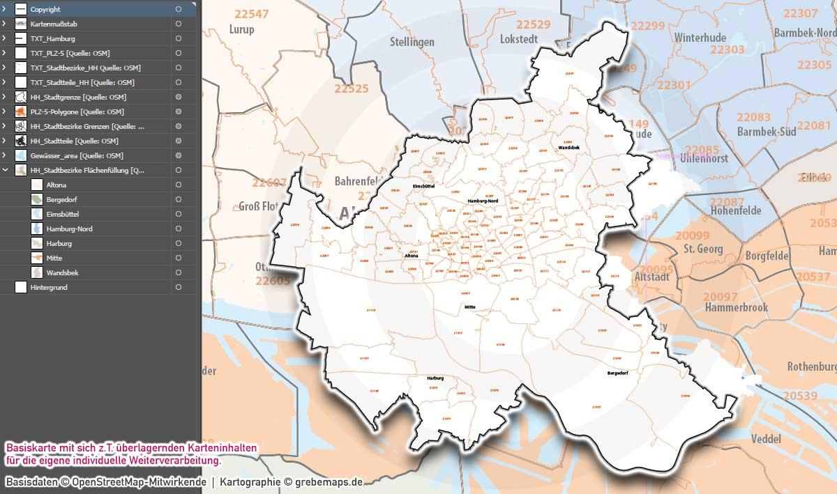 Hamburg Basiskarte Postleitzahlen PLZ-5 Stadtbezirke Stadtteile Vektorkarte, Karte Hamburg Postleitzahlen, Karte PLZ 5-stellig Hamburg, Vektorkarte Hamburg Stadtteile, Postleitzahlenkarte Hamburg, vector map hamburg, stadtplan hamburg stadtteile, landkarte hamburg stadtteile, karte vektor hamburg ai, ai-datei hamburg, download, editierbar, ebenen-separiert, Karte Hamburg für Illustrator