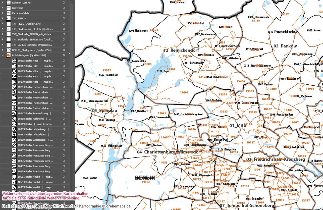 Berlin Basiskarte Postleitzahlen PLZ-5 Stadtbezirke Stadtteile Vektorkarte, Karte Berlin PLZ, PLZ-Karte Berlin, Karte Postleitzahlen Berlin, Karte Berlin Stadtteile, Karte Berlin für Illustrator, Karte Berlin AI-Datei, editierbar, ebenen-separiert, download