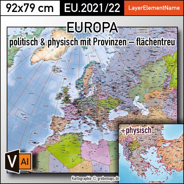 Europa Vektorkarte politisch physisch mit Provinzen flächentreu Landkarte, Landkarte Europa, physische Landkarte Europa, vector map europe, Landkarte Europa physisch Illustrator, Vektorgrafik, Vektorkarte Europa AI Illustrator, editierbar, download, ebenen-separiert, Europakarte editierbar