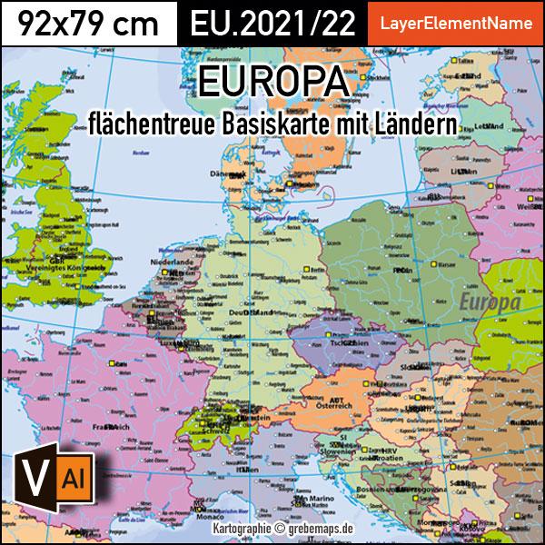 Europa Landkarte Politisch Flächentreu Vektorkarte, Landkarte Europa Politisch, Landkarte Europa Editierbar Für Illustrator, Landkarte Europa Illustrator AI-Datei, Editierbare Europakarte, Basiskarte Europa, Vektorgrafik Europa, Vector Map Europe, Flächentreue Karte Europa, AI, Download, Bearbeitbar, Editierbar, Ebenen-separiert