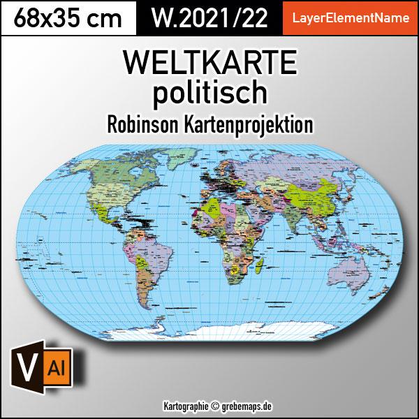 Weltkarte politisch - Robinson Kartenprojektion - Vektorkarte Illustrator ebenen-separiert editierbar AI-Datei, Weltkarte für Illustrator, vector map world robinson, Vektorgrafik Welt, Kartengrafik Welt, Vektorkarte Welt, Landkarte Welt, Karte Welt, editierbar, ebenen-separiert, download, AI-Datei