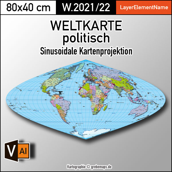 Weltkarte politisch - Sinusoidale Kartenprojektion - ebenen-separierte editierbare Vektorkarte für Illustrator, Weltkarte sinusoidal, sinusoidale Weltkarte, vector map world sinusoidal, Weltkarte Illustrator AI-Datei, editierbare Weltkarte, Vektorkarte Welt, Vektorgrafik Welt, ebenen-separiert, download