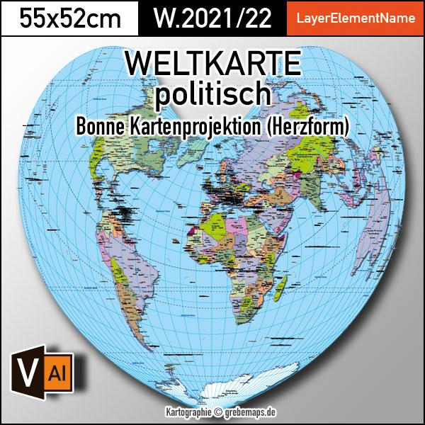Weltkarte Politisch – Bonne Kartenprojektion – Ebenen-separierte Editierbare Vektorkarte Für Illustrator