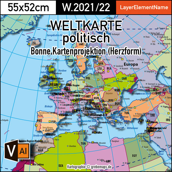 Weltkarte Politisch - Bonne Kartenprojektion - Ebenen-separierte Editierbare Vektorkarte Für Illustrator, Bonne Weltkarte, Weltkarte Bonne Illustrator, Vektorgrafik Welt Bonne, Kartengrafik Welt Bonne, Download, Editierbar, AI-Datei, Landkarte Bonne Welt