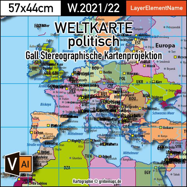 Weltkarte Politisch - Gall Stereographisch Kartenprojektion - Ebenen-separierte Editierbare Vektorkarte Für Illustrator Zum Download, Weltkarte Politisch Vektor-Download, Weltkarte Gall, Editierbare Weltkarte Download, Vector Map World