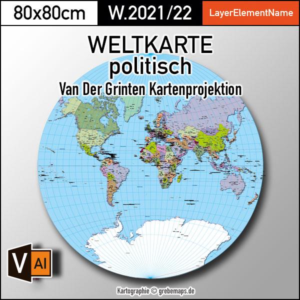 Weltkarte Politisch – Van Der Grinten Kartenprojektion – Ebenen-separierte Editierbare Vektorkarte Für Illustrator Zum Download