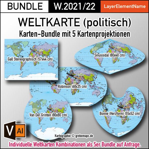 Weltkarte Politisch Vektorkarte Für Illustrator Ebenen-separiert Editierbar Bearbeitbar Beschriftet Zum Download (Karten-BUNDLE)