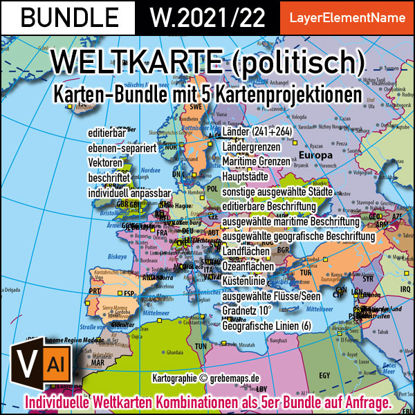 Weltkarte Politisch Vektorkarte Für Illustrator Ebenen-separiert Editierbar Bearbeitbar Beschriftet Zum Download (Karten-BUNDLE), Weltkarte Bearbeitbar, Weltkarte Zum Bearbeiten, Weltkarte Ländergrenzen, Weltkarte Landfläche, Vector Map, Download, AI-Datei, Vektor-Download