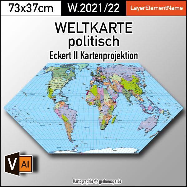 Weltkarte politisch - Eckert II Kartenprojektion - ebenen-separierte editierbare Vektorkarte für Illustrator zum Download, Weltkarte politisch Vektor-Download Eckert II, Weltkarte zum bearbeiten