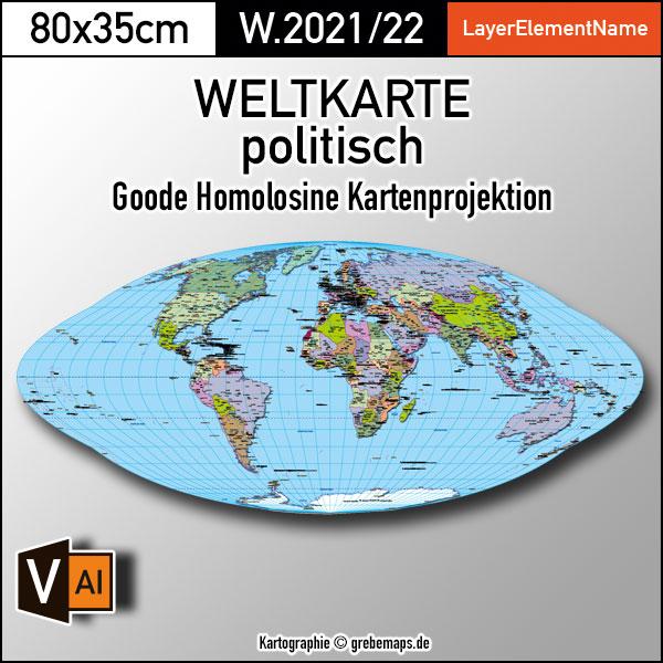 Weltkarte politisch - Goode Homolosine Kartenprojektion - ebenen-separierte editierbare Vektorkarte für Illustrator zum Download, Weltkarte politisch Vektor-Download, Vektorgrafik, Kartengrafik Welt, Weltkarte bearbeitbar, Weltkarte zum bearbeiten, Weltkarte Landflächen, Weltkarte Länder
