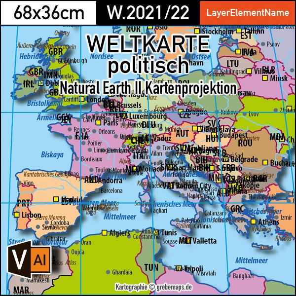 Weltkarte Politisch - Natural Earth II Kartenprojektion - Ebenen-separierte Editierbare Vektorkarte Für Illustrator Zum Download, Vektorgrafik Welt, Weltkarte Vektor Download, Vector Map, Editierbare Weltkarte