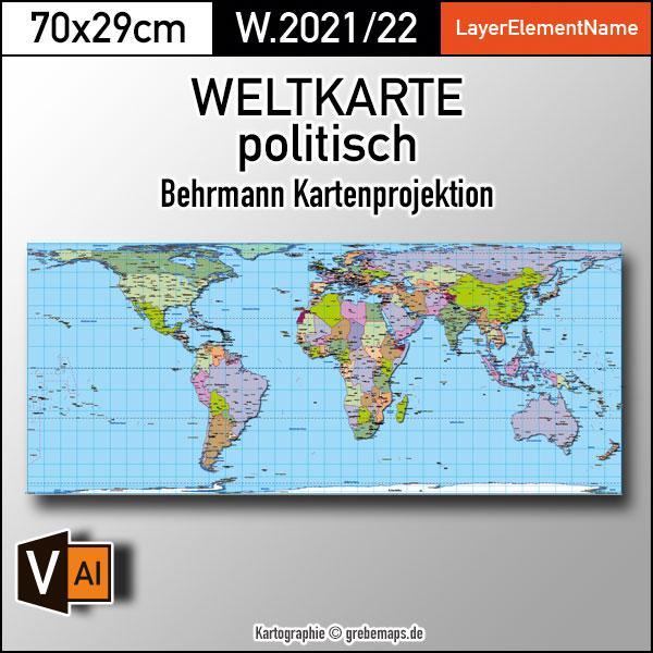 Weltkarte politisch - Behrmann Kartenprojektion - ebenen-separierte editierbare Vektorkarte für Illustrator zum Download, Weltkarte Vektor Download Illustrator, Weltkarte Länder bearbeitbar, Weltkarte Illustrator download, vector map