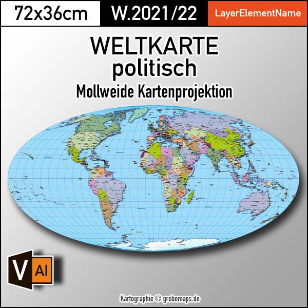 Weltkarte politisch - Mollweide Kartenprojektion - ebenen-separierte editierbare Vektorkarte für Illustrator zum Download, Weltkarte Illustrator download Vektor, vector map, Vektorgrafik Welt, Weltkarte Mollweide, Weltkarte bearbeitbar, Weltkarte zum Bearbeiten