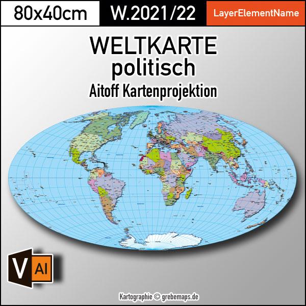 Weltkarte politisch - Aitoff Kartenprojektion - ebenen-separierte editierbare Vektorkarte für Illustrator zum Download, Weltkarte Vektor download, Weltkarte zum Bearbeiten, Weltkarte bearbeitbar, vector map, Vektorgrafik Welt, Kartengrafik Welt Länder, Länderkarte Welt bearbeitbar