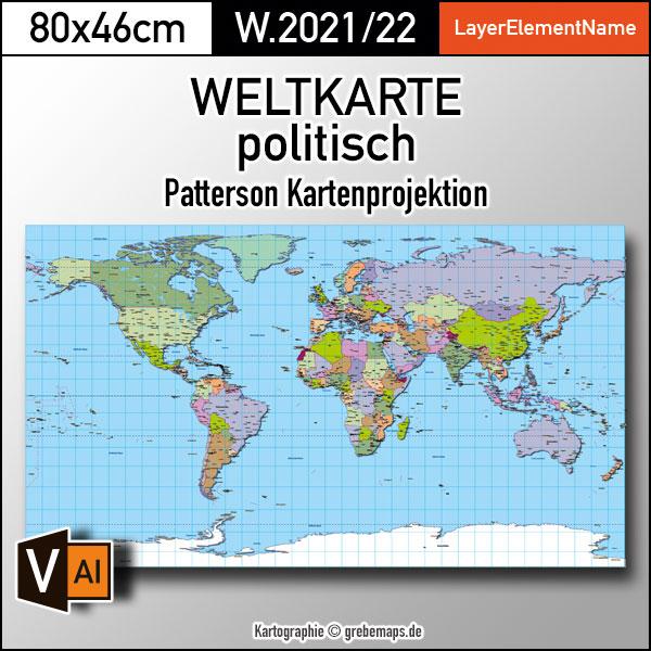 Weltkarte politisch - Patterson Kartenprojektion - ebenen-separierte editierbare Vektorkarte für Illustrator zum Download, Weltkarte Patterson, Weltkarte bearbeitbar, Weltkarte zum Bearbeiten, Weltkarte für Illustrator Vektor-Download
